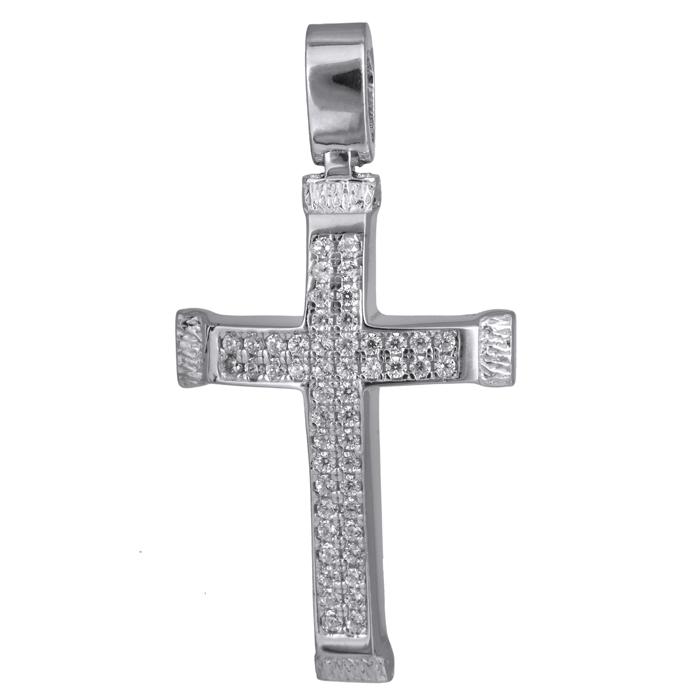 Σταυροί Βάπτισης - Αρραβώνα Λευκόχρυσος πετράτος σταυρός 14Κ 024202 024202 Γυναικείο Χρυσός 14 Καράτια