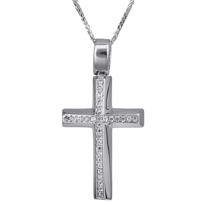 Βαπτιστικοί Σταυροί με Αλυσίδα Λευκόχρυσος σταυρός με καδένα 14Κ 024204C 024204C Γυναικείο Χρυσός 14 Καράτια