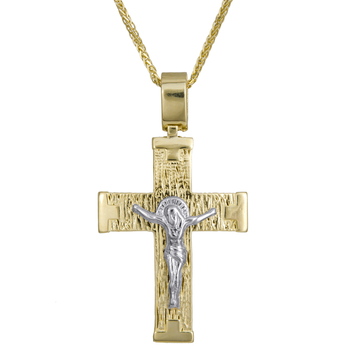 Βαπτιστικοί Σταυροί με Αλυσίδα Βαπτιστικός σταυρός με τον Εσταυρωμένο Κ14 C024205 024205C Ανδρικό Χρυσός 14 Καράτια