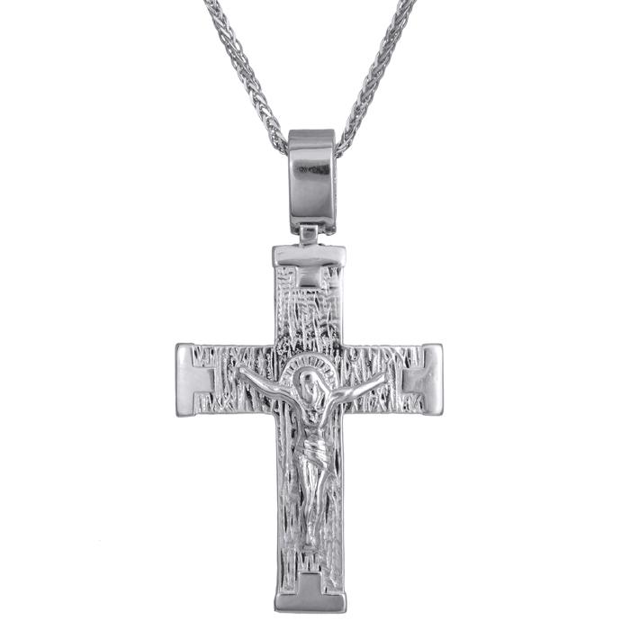 Βαπτιστικοί Σταυροί με Αλυσίδα Σταυρός με τον Εσταυρωμένο λευκόχρυσος Κ14 σε αλυσίδα 024206C 024206C Ανδρικό Χρυσός 14 Καράτια