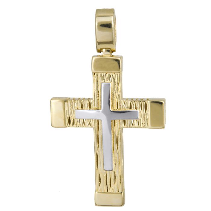 Σταυροί Βάπτισης - Αρραβώνα Δίχρωμος ανδρικός σταυρός σκαλιστός λουστρέ Κ14 024211 024211 Ανδρικό Χρυσός 14 Καράτια