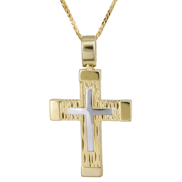 Βαπτιστικοί Σταυροί με Αλυσίδα Σκαλιστός σταυρός ανδρικός δίχρωμος Κ14 με χρυσή καδένα 024211C 024211C Ανδρικό Χρυσός 14 Καράτια
