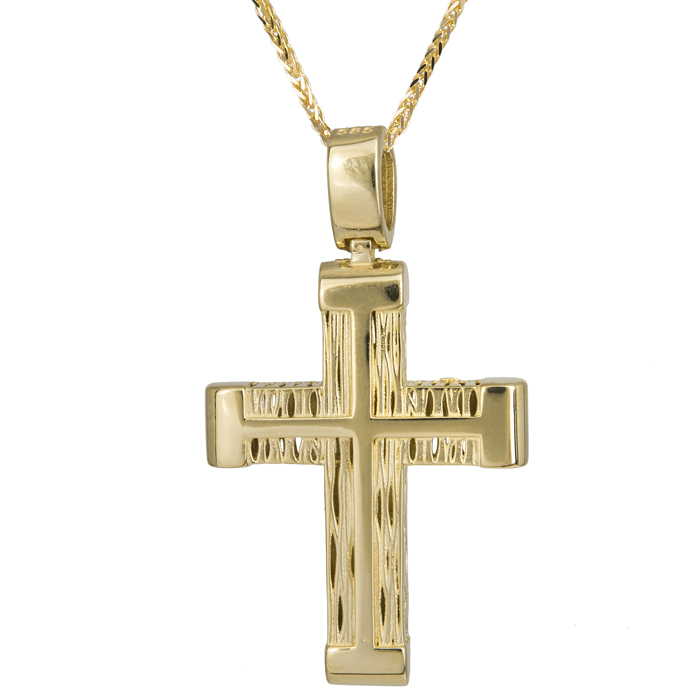 Βαπτιστικοί Σταυροί με Αλυσίδα Χρυσός σταυρός ανάγλυφος ανδρικός Κ14 με αλυσίδα 024213C 024213C Ανδρικό Χρυσός 14 Καράτια