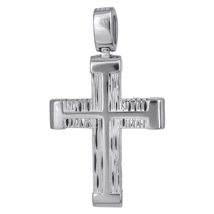 Σταυροί Βάπτισης - Αρραβώνα Χειροποίητος λευκόχρυσος σταυρός 14Κ ανδρικός 024214 024214 Ανδρικό Χρυσός 14 Καράτια