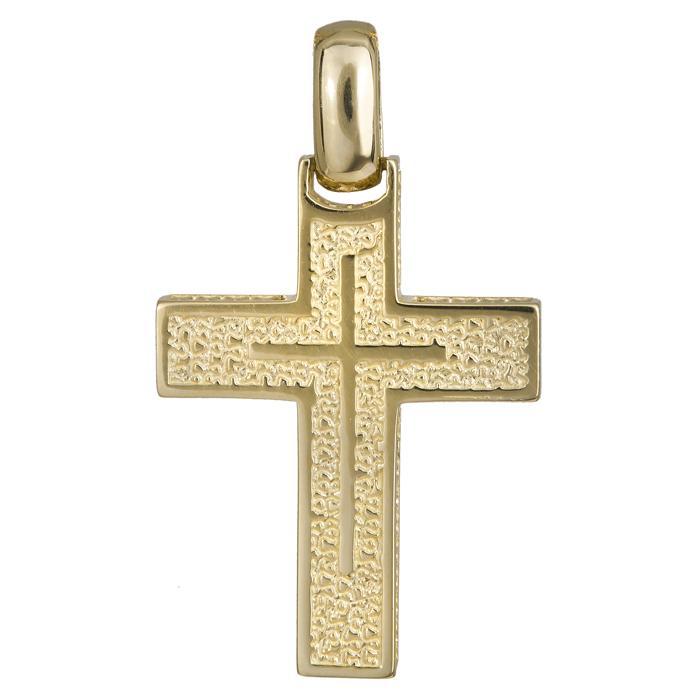 Σταυροί Βάπτισης - Αρραβώνα Χρυσός χειροποίητος σταυρός 14Κ με ανάγλυφη επιφάνεια 024219 024219 Ανδρικό Χρυσός 14 Καράτια