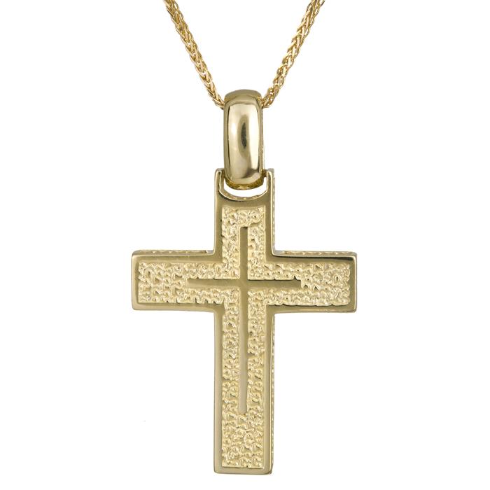 Βαπτιστικοί Σταυροί με Αλυσίδα Ανάγλυφος χρυσός σταυρός 14Κ με καδένα 024219C 024219C Ανδρικό Χρυσός 14 Καράτια