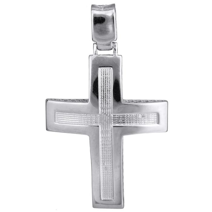 Σταυροί Βάπτισης - Αρραβώνα Λευκόχρυσος ανδρικός σταυρός 14Κ 024224 024224 Ανδρικό Χρυσός 14 Καράτια