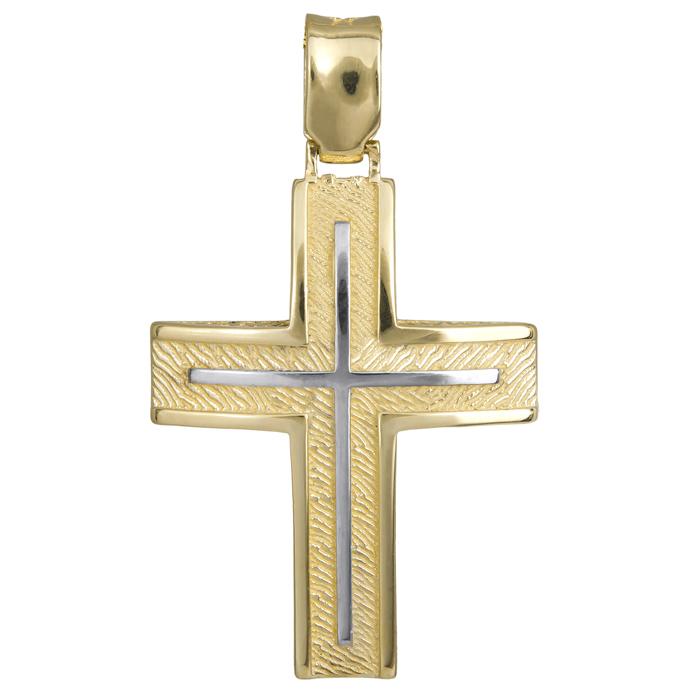 Σταυροί Βάπτισης - Αρραβώνα Σταυρός ανδρικός δίχρωμος ανάγλυφος 14Κ 024225 024225 Ανδρικό Χρυσός 14 Καράτια