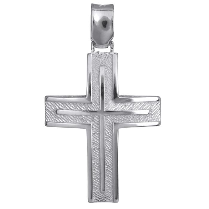 Σταυροί Βάπτισης - Αρραβώνα Λευκόχρυσος αντρικός σταυρός 14Κ 024226 024226 Ανδρικό Χρυσός 14 Καράτια