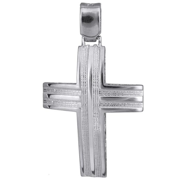 Σταυροί Βάπτισης - Αρραβώνα Λευκόχρυσος σταυρός βάπτισης Κ14 024228 024228 Ανδρικό Χρυσός 14 Καράτια