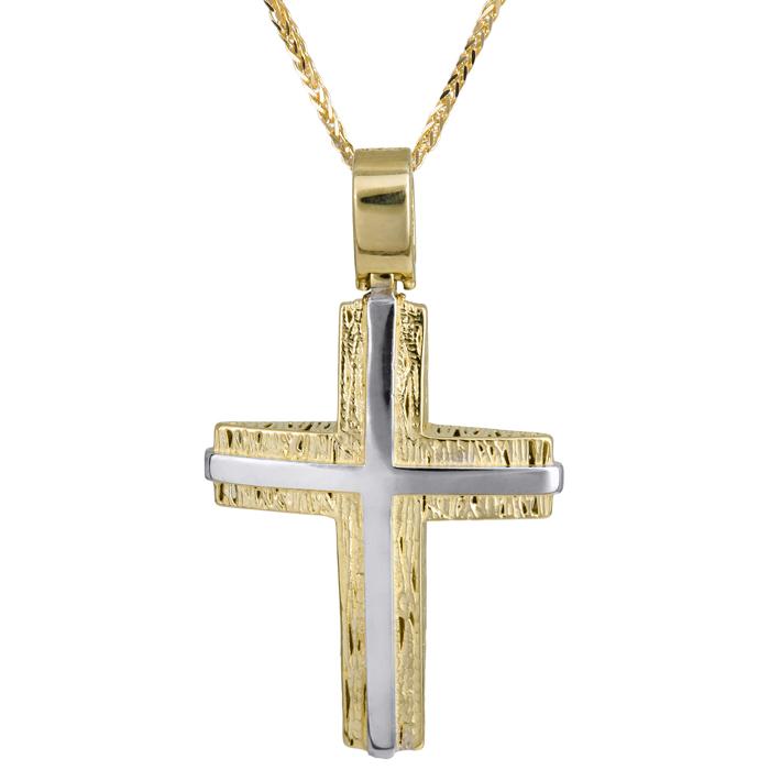 Βαπτιστικοί Σταυροί με Αλυσίδα Ανδρικός δίχρωμος σταυρός βάπτισης με αλυσίδα Κ14 024229C 024229C Ανδρικό Χρυσός 14 Καράτια