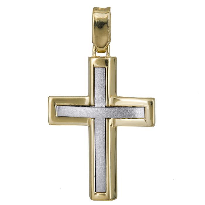 Σταυροί Βάπτισης - Αρραβώνα Σταυρός δίχρωμος ματ - λουστρέ Κ14 024231 024231 Ανδρικό Χρυσός 14 Καράτια
