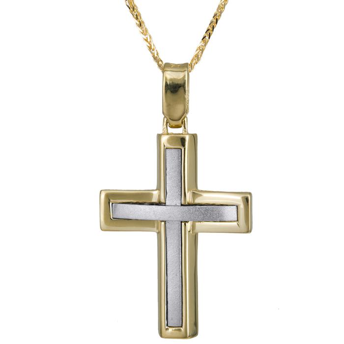Βαπτιστικοί Σταυροί με Αλυσίδα Δίχρωμος σταυρός λουστρέ - ματ Κ14 με καδένα χρυσή 024231C 024231C Ανδρικό Χρυσός 14 Καράτια