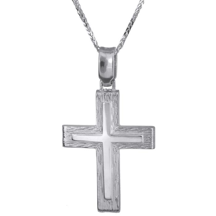 Βαπτιστικοί Σταυροί με Αλυσίδα Ανδρικός σταυρός Κ14 C024240 024240C Ανδρικό Χρυσός 14 Καράτια
