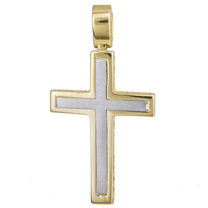Σταυροί Βάπτισης - Αρραβώνα Δίχρωμος σταυρός βάπτισης Κ14 024241 024241 Ανδρικό Χρυσός 14 Καράτια