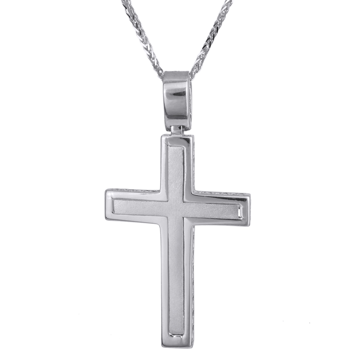 Βαπτιστικοί Σταυροί με Αλυσίδα Απλός ανδρικός σταυρός λευκόχρυσος Κ14 με καδένα 024242C 024242C Ανδρικό Χρυσός 14 Καράτια