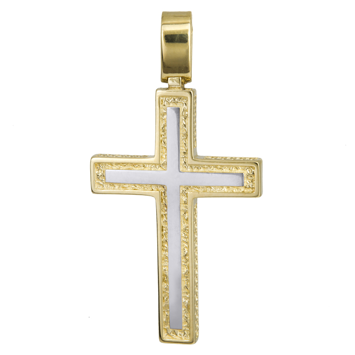 Σταυροί Βάπτισης - Αρραβώνα Σταυρός δίχρωμος 14 Κ με σκαλιστό σχέδιο 024243 024243 Ανδρικό Χρυσός 14 Καράτια