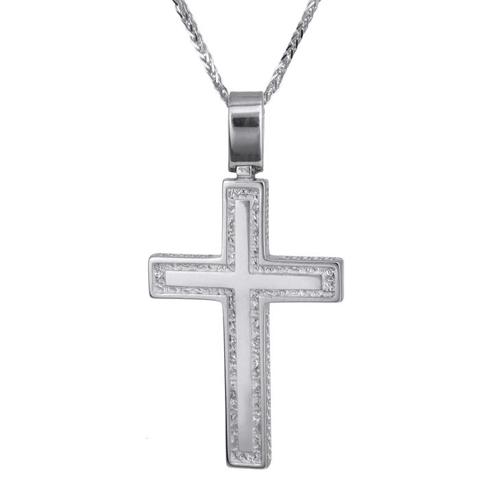 Βαπτιστικοί Σταυροί με Αλυσίδα Λευκόχρυσος αντρικός σταυρός Κ14 024244C 024244C Ανδρικό Χρυσός 14 Καράτια