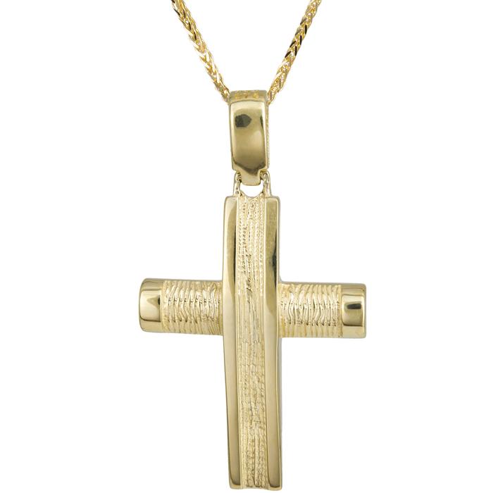 Βαπτιστικοί Σταυροί με Αλυσίδα Αντρικός σταυρός χρυσός Κ14 024245C 024245C Ανδρικό Χρυσός 14 Καράτια