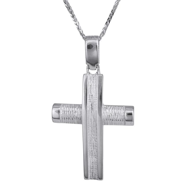 Βαπτιστικοί Σταυροί με Αλυσίδα Ανδρικός ανάγλυφος σταυρός λευκόχρυσος Κ14 με καδένα 024246C 024246C Ανδρικό Χρυσός 14 Καράτια