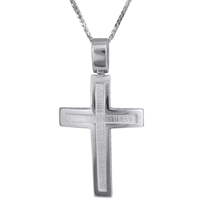 Βαπτιστικοί Σταυροί με Αλυσίδα Λευκόχρυσος χειροποίητος σταυρός Κ14 024248C 024248C Ανδρικό Χρυσός 14 Καράτια