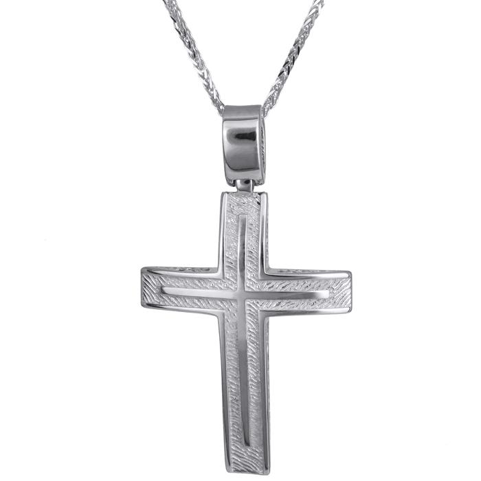 Βαπτιστικοί Σταυροί με Αλυσίδα Λευκόχρυσος ανδρικός ανάγλυφος σταυρός 14Κ με αλυσίδα 024250C 024250C Ανδρικό Χρυσός 14 Καράτια