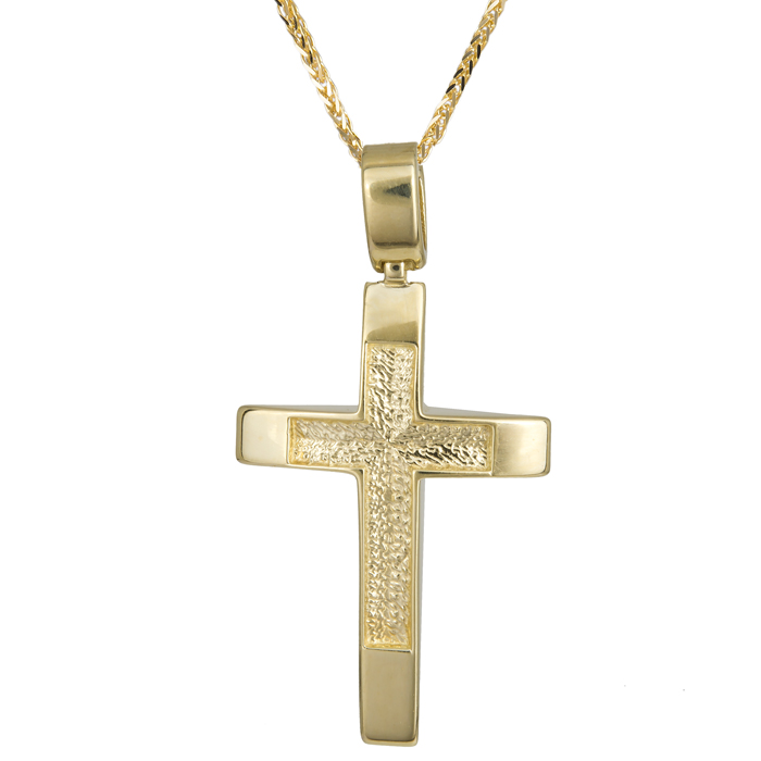 Βαπτιστικοί Σταυροί με Αλυσίδα Χρυσός χειροποίητος σταυρός για αγόρι Κ14 024253C 024253C Ανδρικό Χρυσός 14 Καράτια