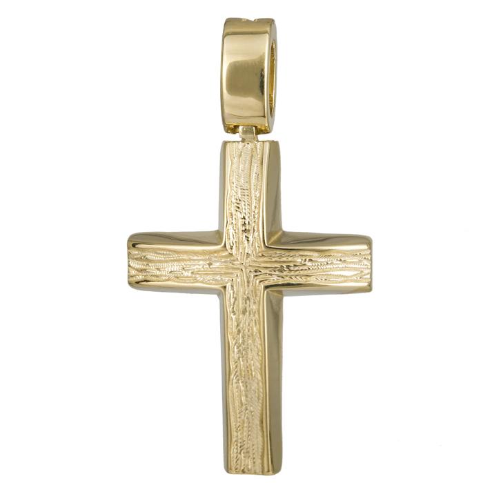 Σταυροί Βάπτισης - Αρραβώνα Ανάγλυφος χρυσός σταυρός 14Κ χειροποίητος 024255 024255 Ανδρικό Χρυσός 14 Καράτια