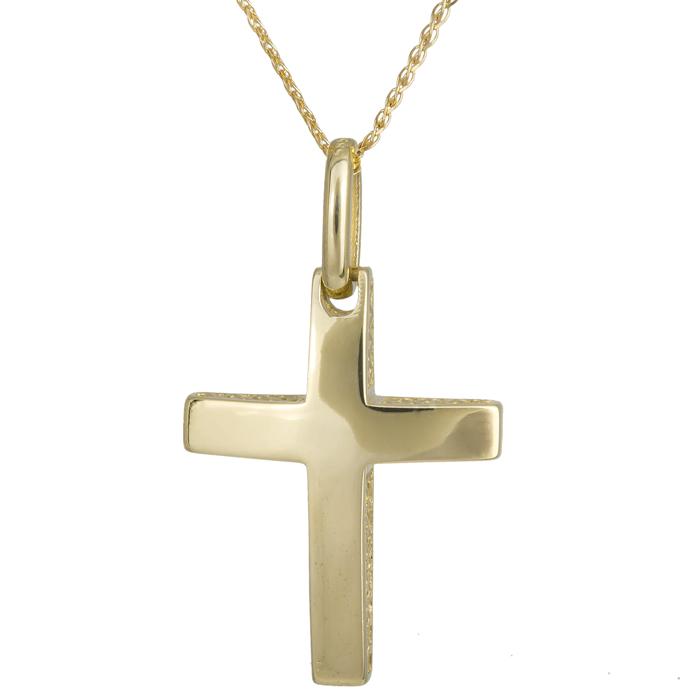 Βαπτιστικοί Σταυροί με Αλυσίδα Αντρικός σταυρός με αλυσίδα 14Κ 024263C 024263C Ανδρικό Χρυσός 14 Καράτια