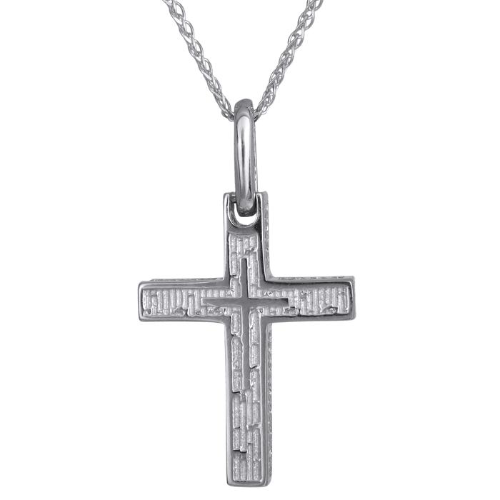 Βαπτιστικοί Σταυροί με Αλυσίδα Λευκόχρυσος σταυρός για αγόρι Κ14 024268C 024268C Ανδρικό Χρυσός 14 Καράτια