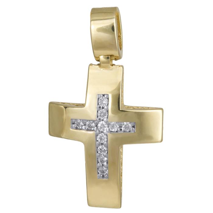 Σταυροί Βάπτισης - Αρραβώνα Γυναικείος χρυσός σταυρός Κ14 με πέτρες 024273 024273 Γυναικείο Χρυσός 14 Καράτια
