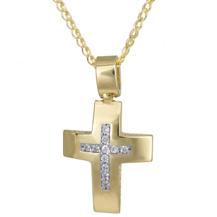 Γυναικείος χρυσός σταυρός Κ14 με αλυσίδα 024273C 024273C Χρυσός 14 Καράτια