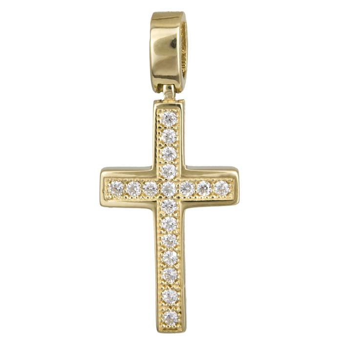 Γυναικείος χρυσός σταυρός πετράτος 14Κ 024275 024275 Χρυσός 14 Καράτια