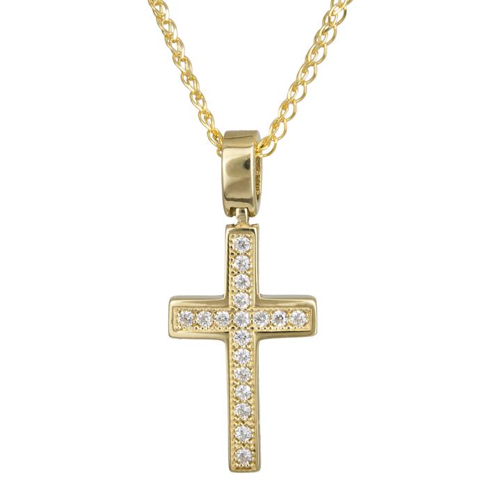 Γυναικείος χρυσός σταυρός πετράτος 14Κ 024275C 024275C Χρυσός 14 Καράτια