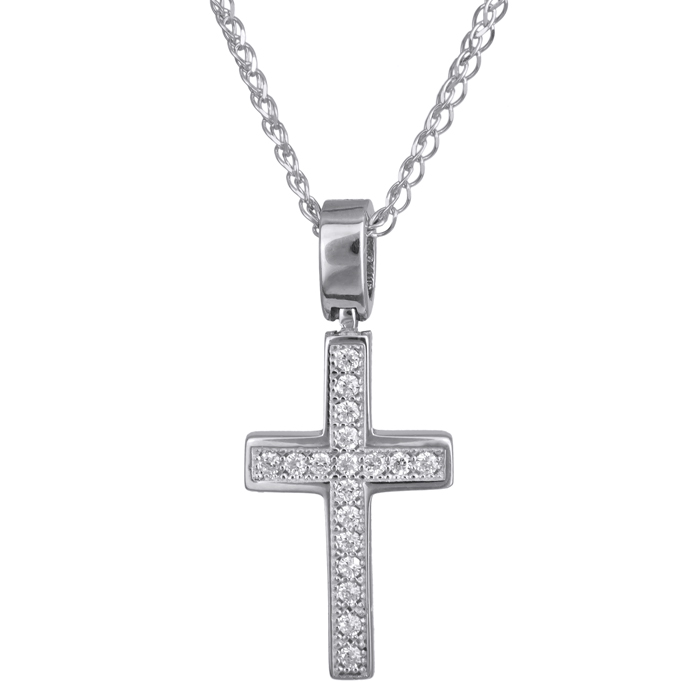Γυναικείος λευκόχρυσος σταυρός Κ14 με αλυσίδα 024276C 024276C Χρυσός 14 Καράτια