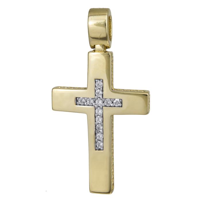 Σταυροί Βάπτισης - Αρραβώνα Γυναικείος σταυρός με πέτρες Κ14 024279 024279 Γυναικείο Χρυσός 14 Καράτια