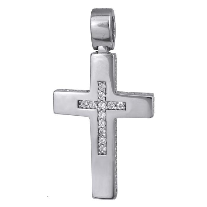 Σταυροί Βάπτισης - Αρραβώνα Γυναικείος λευκόχρυσος πλακέ σταυρός Κ14 με ζιργκόν 024280 024280 Γυναικείο Χρυσός 14 Καράτια