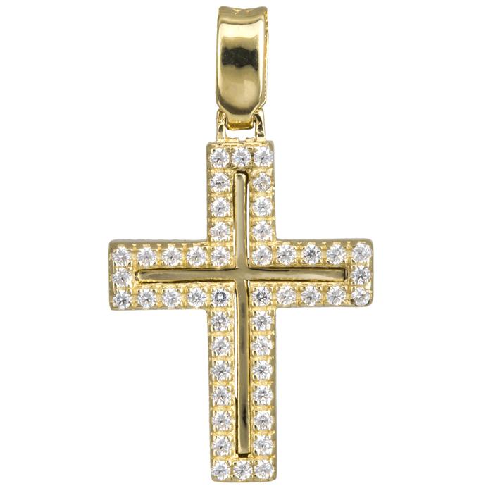 Σταυροί Βάπτισης - Αρραβώνα Γυναικείος χρυσός σταυρός Κ14 με πέτρες 024282 024282 Γυναικείο Χρυσός 14 Καράτια