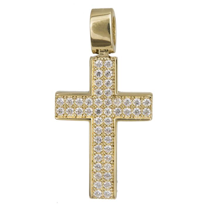Σταυροί Βάπτισης - Αρραβώνα Χρυσός σταυρός με πέτρες 14Κ 024286 024286 Γυναικείο Χρυσός 14 Καράτια