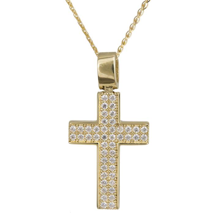 Βαπτιστικοί Σταυροί με Αλυσίδα Πετράτος γυναικείος σταυρός 14Κ 024286C 024286C Γυναικείο Χρυσός 14 Καράτια