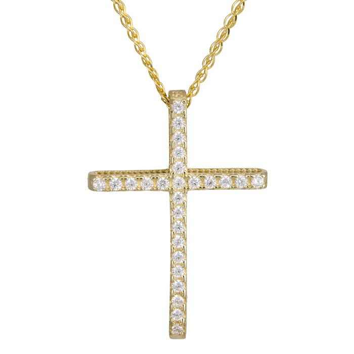 Χρυσός γυναικείος σταυρός πετράτος 14Κ με αλυσίδα 024292C 024292C Χρυσός 14 Καράτια