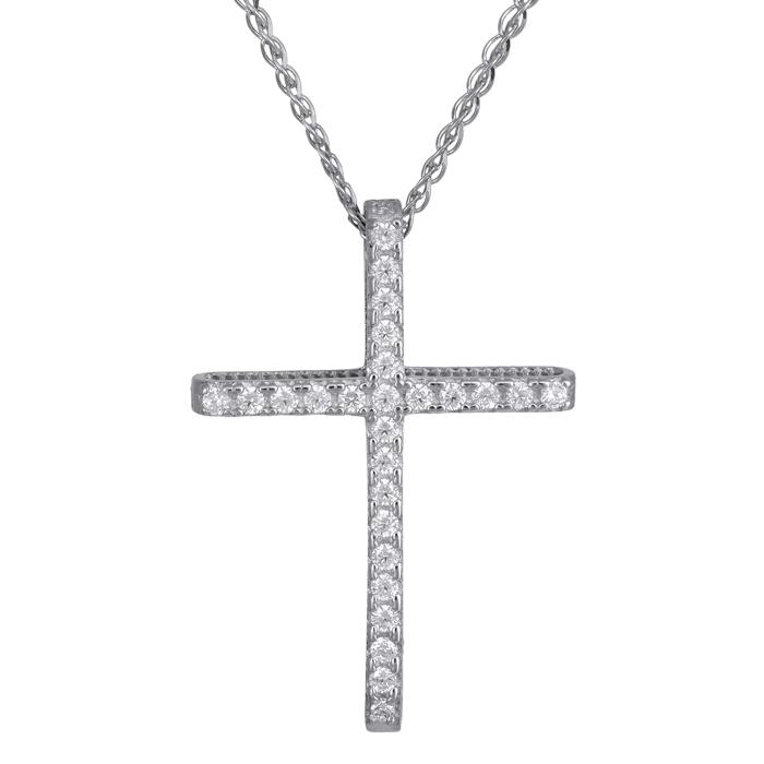 Λευκόχρυσος γυναικείος σταυρός Κ14 C024293 024293C Χρυσός 14 Καράτια χρυσά κοσμήματα σταυροί