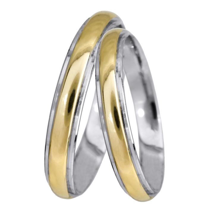 Βέρες γάμου δίχρωμες Κ14 024310 024310 Χρυσός 14 Καράτια