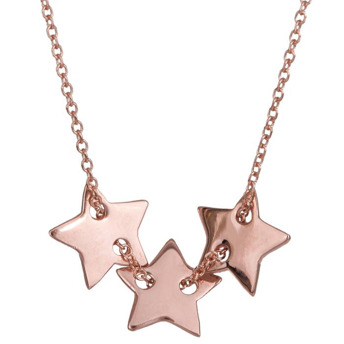 Ροζ gold κολιέ τρία αστέρια Κ14 024320 024320 Χρυσός 14 Καράτια