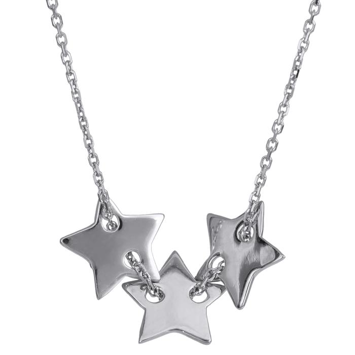 Λευκόχρυσο κολιέ τρία αστέρια Κ14 024321 024321 Χρυσός 14 Καράτια