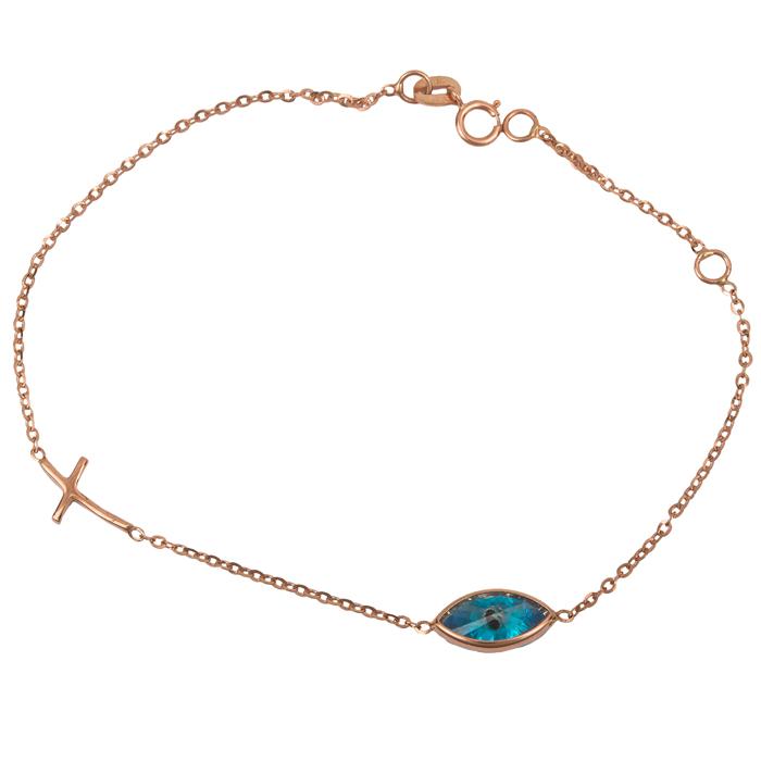 Ροζ gold βραχιόλι με μάτι και σταυρό Κ14 024323 024323 Χρυσός 14 Καράτια