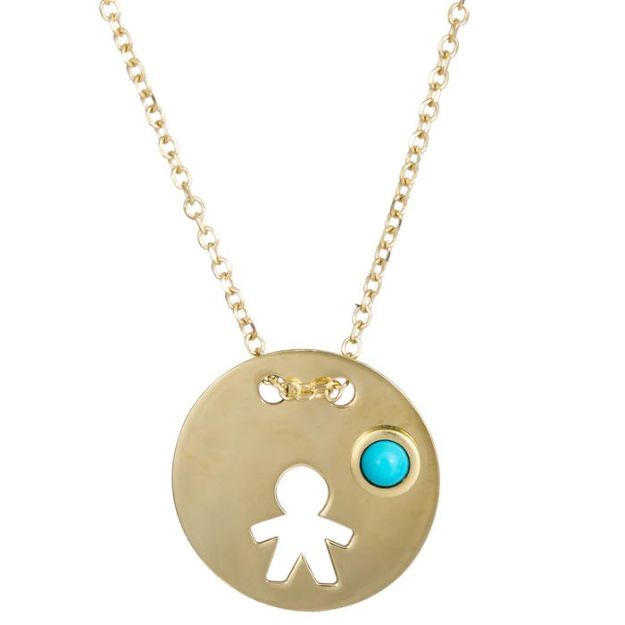 Χρυσό κολιέ ανθρωπάκι Κ9 με χάντρα 024330 024330 Χρυσός 9 Καράτια