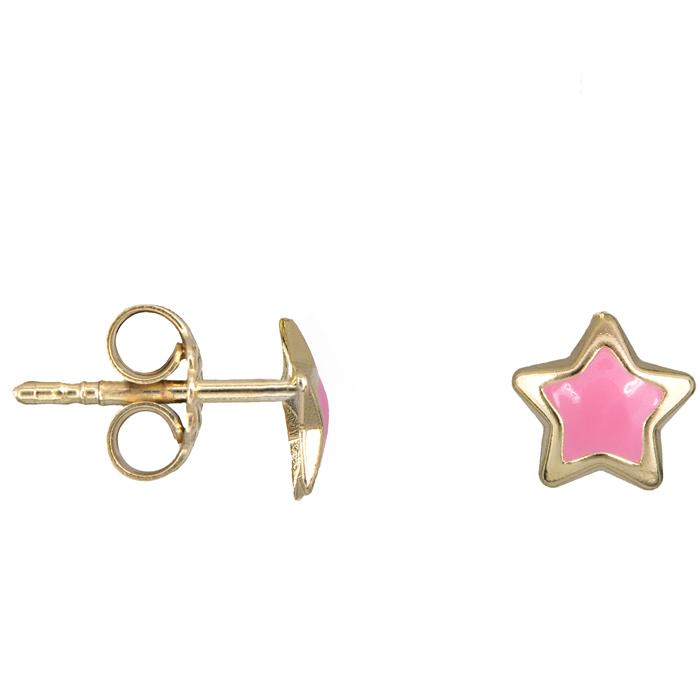 Χρυσά παιδικά σκουλαρίκια ροζ αστέρι Κ14 024331 024331 Χρυσός 14 Καράτια