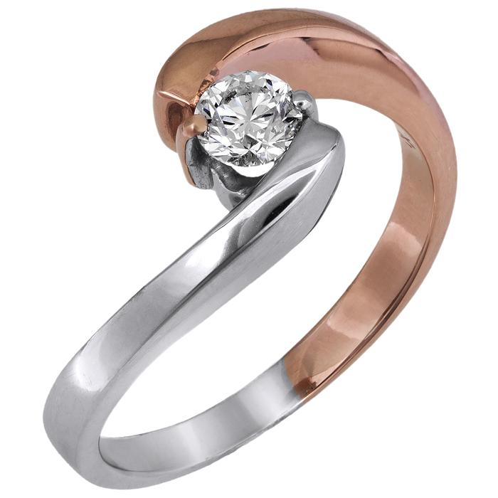 Δίχρωμο μονόπετρο με διαμάντι Κ18 028055 028055 Χρυσός 18 Καράτια
