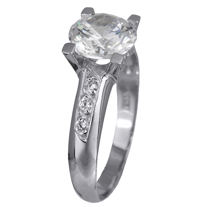 Μονόπετρο δαχτυλίδι λευκόχρυσο Κ14 με ζιργκόν 024352 024352 Χρυσός 14 Καράτια χρυσά κοσμήματα δαχτυλίδια μονόπετρα